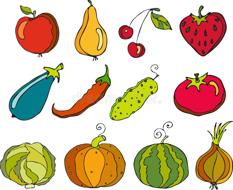 Gemüse und Früchte stock abbildung