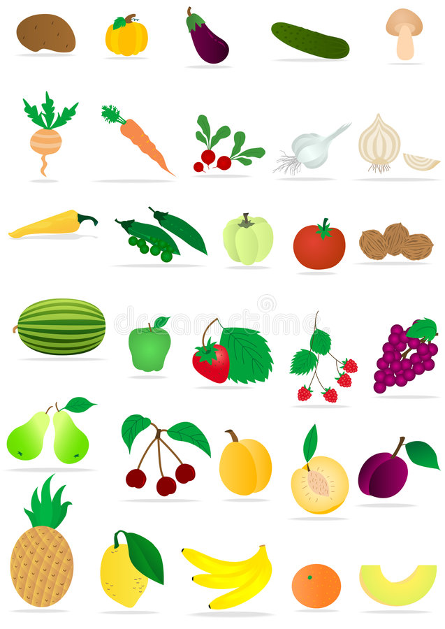 Gemüse und Früchte lizenzfreie abbildung