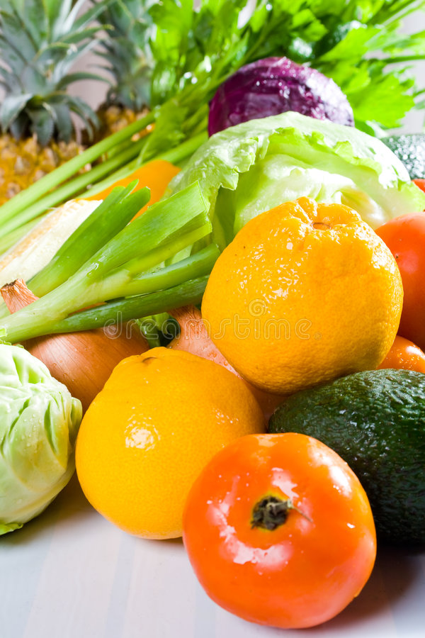 Gemüse und Frucht stockfotos