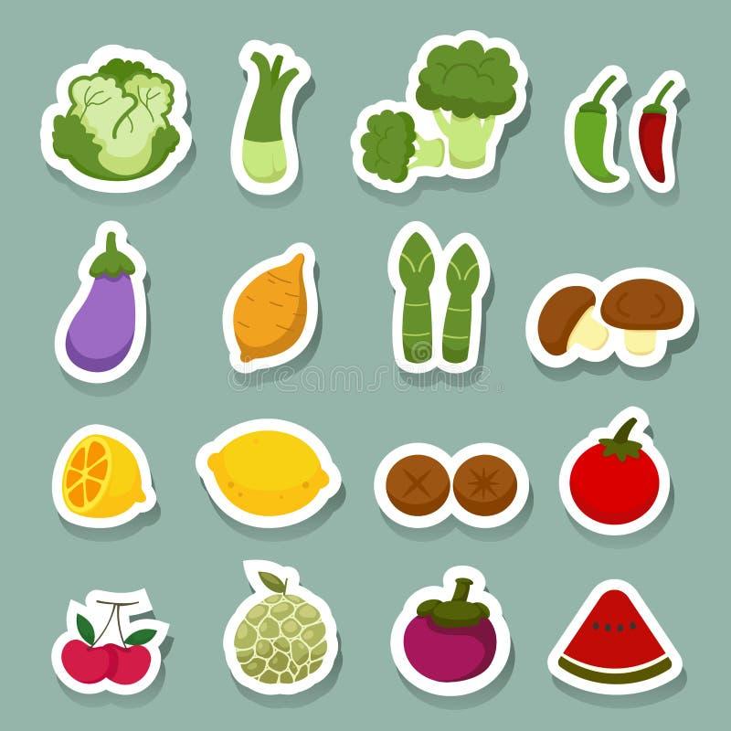 Gemüse- und Fruchtikonen vektor abbildung