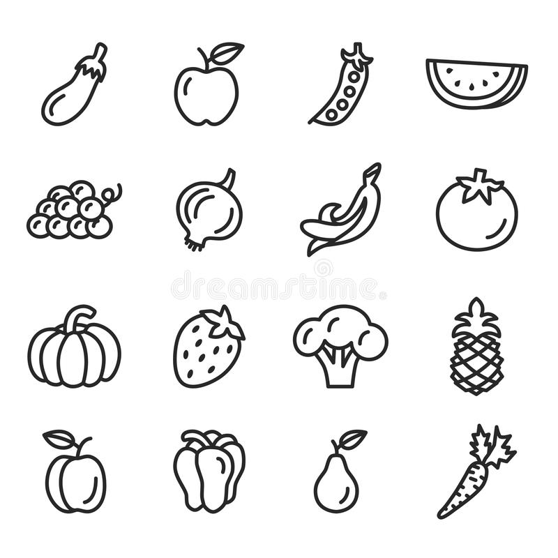 Gemüse- und Fruchtikonen stock abbildung