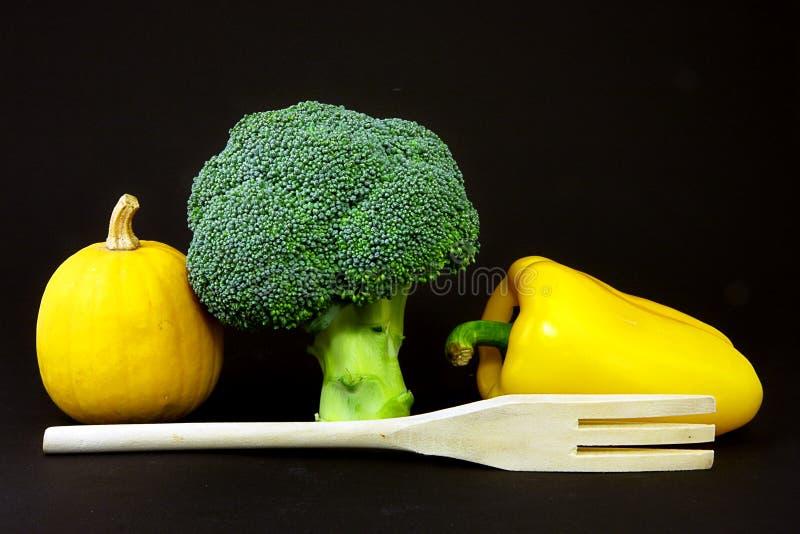 Gemüse und Gabel stockbild