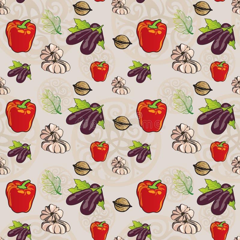 Gemüse und Laub-nahtloses Muster - Pfeffer, Aubergine, Knoblauch und Walnüsse stock abbildung