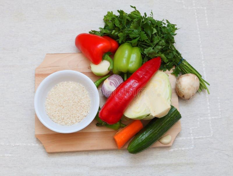 Gemüse und Reis lizenzfreie stockfotos