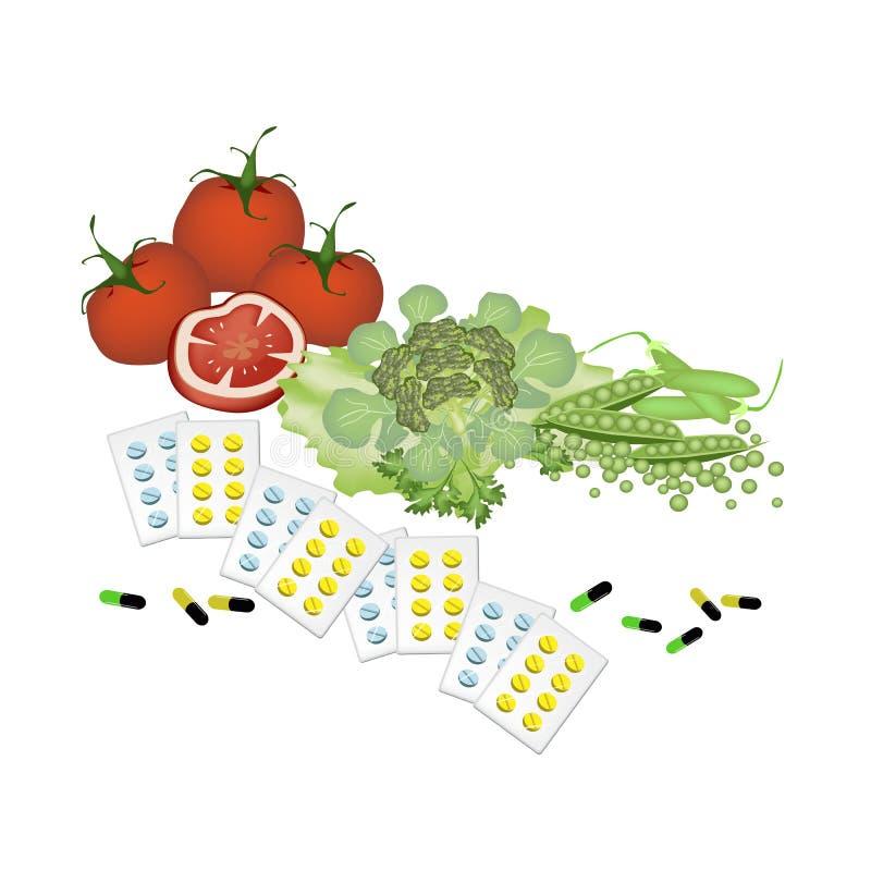 Gemüse und Vitamin-Kapseln auf weißem Hintergrund vektor abbildung