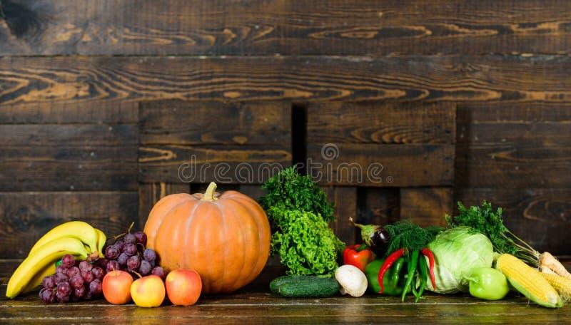 Gemüse von nahem hohem des Gartens oder des Bauernhofes Selbstgezogenes Gemüse Frisches organisches Gemüse auf dunklem hölzernem  lizenzfreies stockfoto
