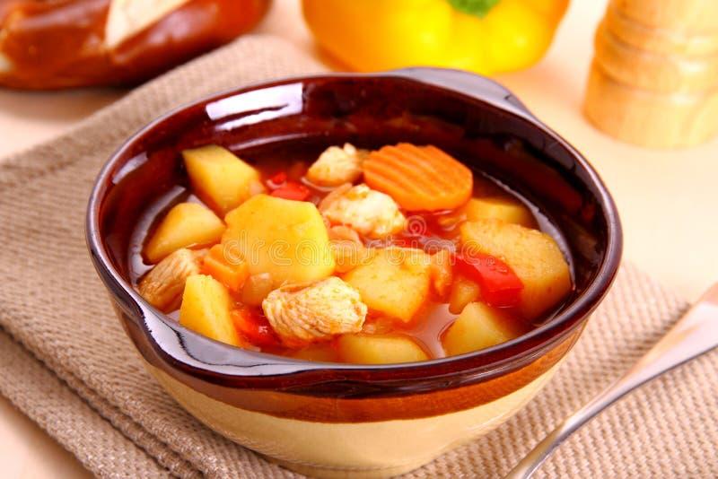 Gemüseeintopfgericht mit Huhn und Kartoffel lizenzfreie stockbilder