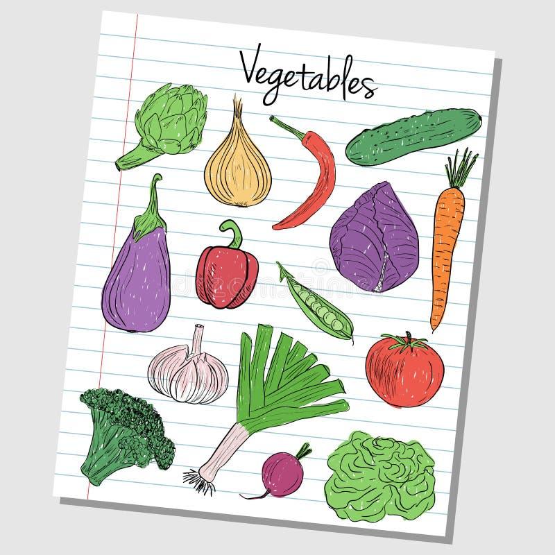 Gemüsegekritzel - gezeichnetes Papier lizenzfreie abbildung