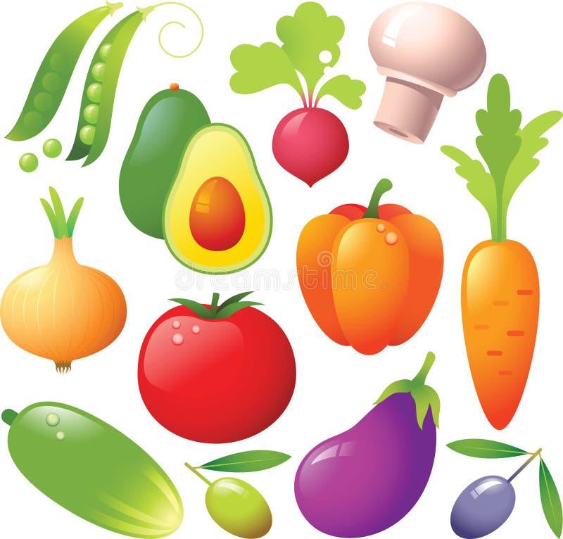 Gemüseikonen lizenzfreie abbildung