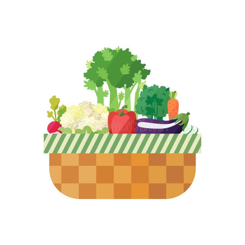 Gemüsekorb (Rettich, Blumenkohl, Sellerie, Pfeffer, Petersilie, Karotte, Aubergine) Modernes flaches Design lizenzfreie abbildung