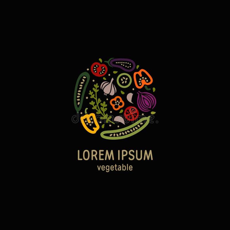 Gemüselogo auf schwarzem Hintergrund lizenzfreie abbildung