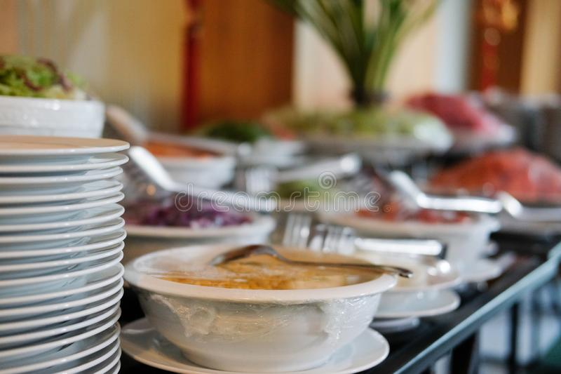 Gemüsenahrungsmittelbuffetverpflegung im Restauranthotel Essen von dinin lizenzfreie stockbilder