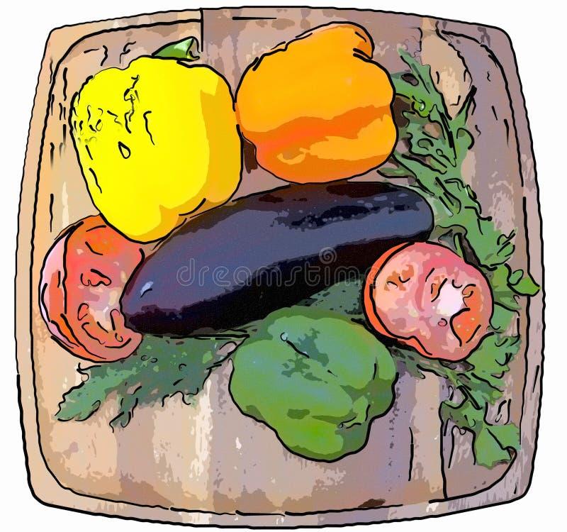 Gemüsepaprika, Tomate, Aubergine, Petersilie und Fenchel auf einem hölzernen Behälter lizenzfreie abbildung