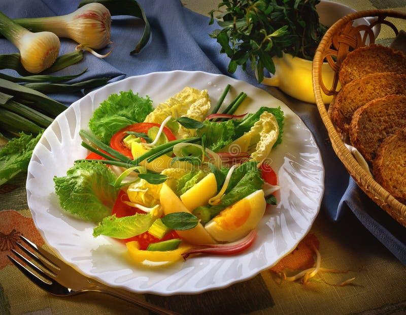Gemüsesalat auf einer weißen Platte stockfotos