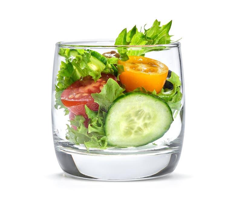 Gemüsesalat in einem Glas stockbild