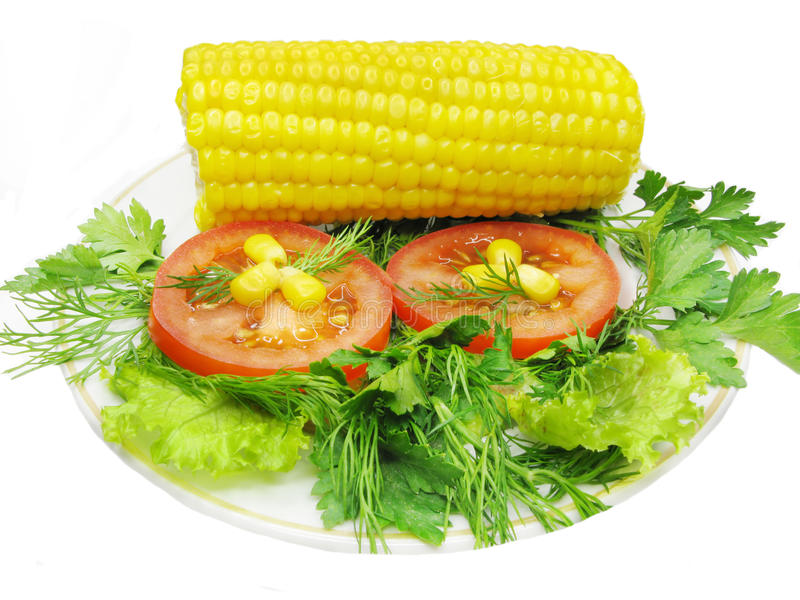 Gemüsesalat mit Mais lizenzfreie stockfotografie