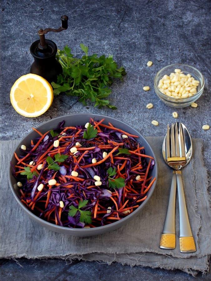 Gemüsesalat mit purpurrotem Kohl, Karotte, keimte Mung, Petersilie auf grauer Lehmplatte auf dunklem Hintergrund Cole Slaw Salad  stockfoto