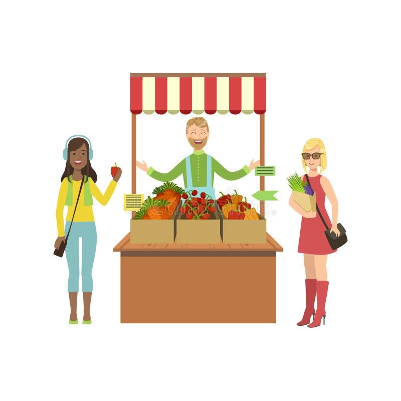 Gemüsestand von Bauernhof-frischen Produkten mit Verkäufer und Kunden stock abbildung