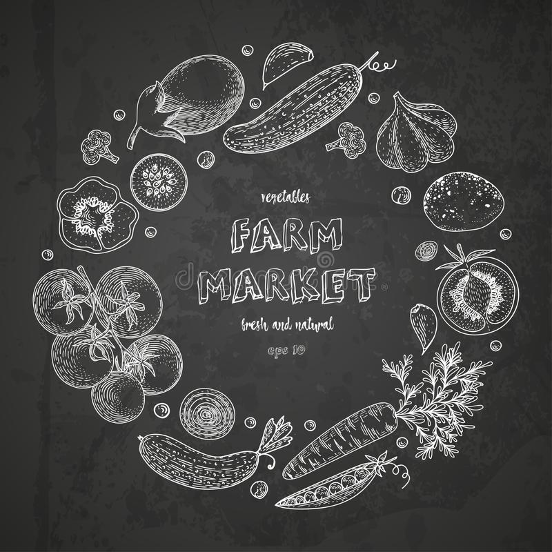 Gemüsevektorkreis mit Gurke, Tomate, Aubergine, Kartoffel, Karotte, Brokkoli Gesunde Lebensmitteldesignschablone mit vektor abbildung