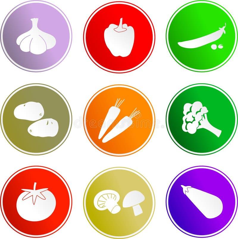 Gemüsezeichenikonen stock abbildung