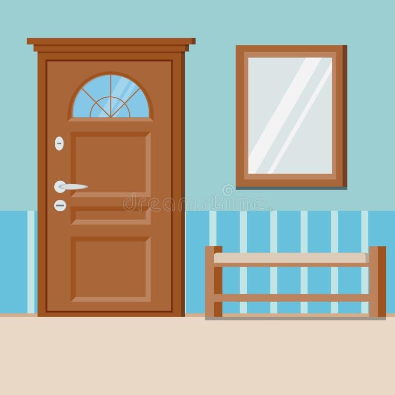 Gemütlicher einfacher Haupteingangshalleninnenhintergrund mit Möbeln lizenzfreie abbildung