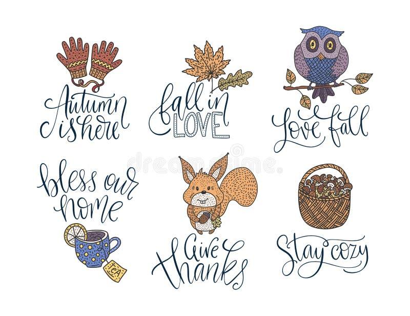Gemütlicher Fallvektor-Beschriftungssatz Hand gezeichnete Herbstzitate stock abbildung