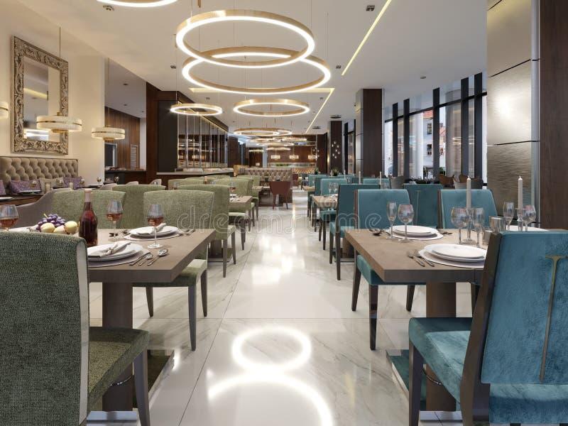 Gemütlicher Luxusinnenraum des Restaurants, bequemer moderner speisender pl vektor abbildung