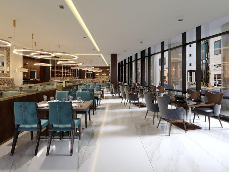 Gemütlicher Luxusinnenraum des Restaurants, bequemer moderner speisender pl stock abbildung