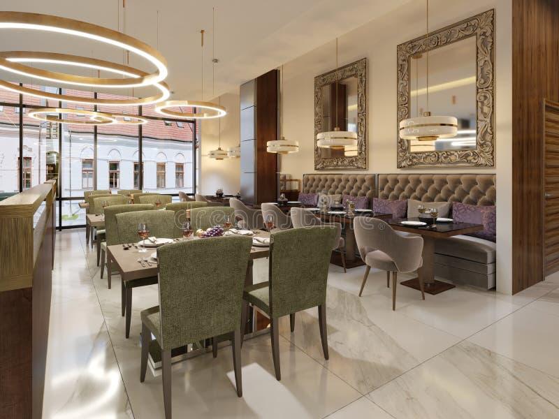 Gemütlicher Luxusinnenraum des Restaurants, bequemer moderner speisender Platz, zeitgenössischer Entwurfshintergrund vektor abbildung