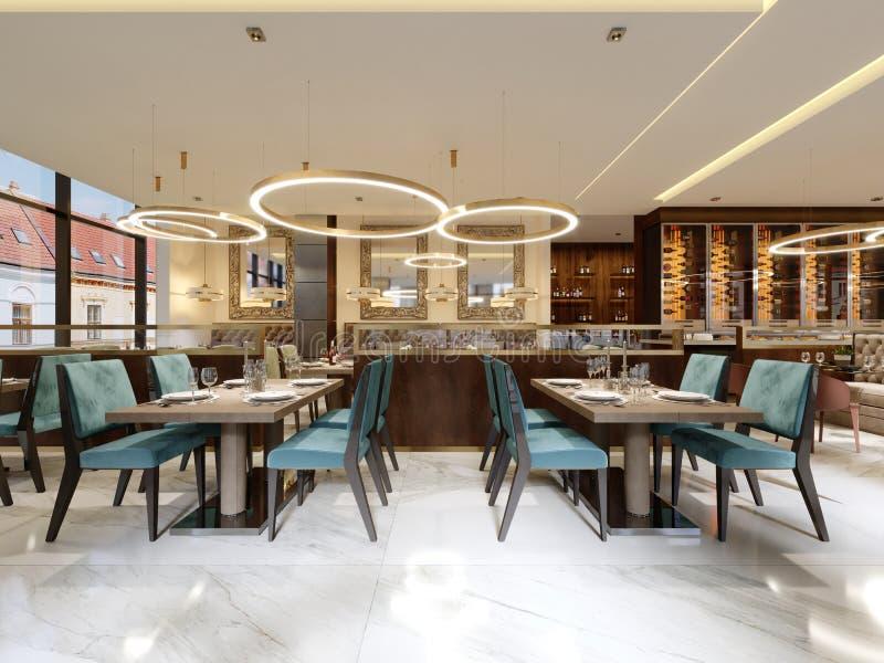 Gemütlicher Luxusinnenraum des Restaurants, bequemer moderner speisender Platz, zeitgenössischer Entwurfshintergrund stock abbildung