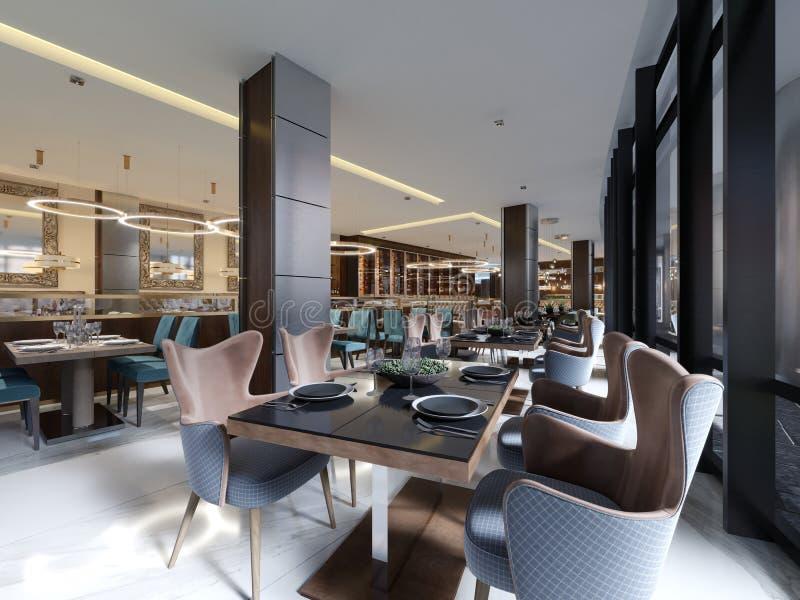 Gemütlicher Luxusinnenraum des Restaurants, bequemer moderner speisender Platz, zeitgenössischer Entwurfshintergrund lizenzfreie abbildung