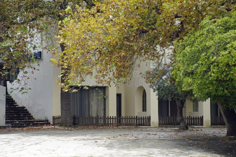 Gemütlicher verlassener Innenhof Stadt- und Laubbäume Die Pflanze ist ein Platinenbaum Der Charme des Herbstes lizenzfreie stockbilder