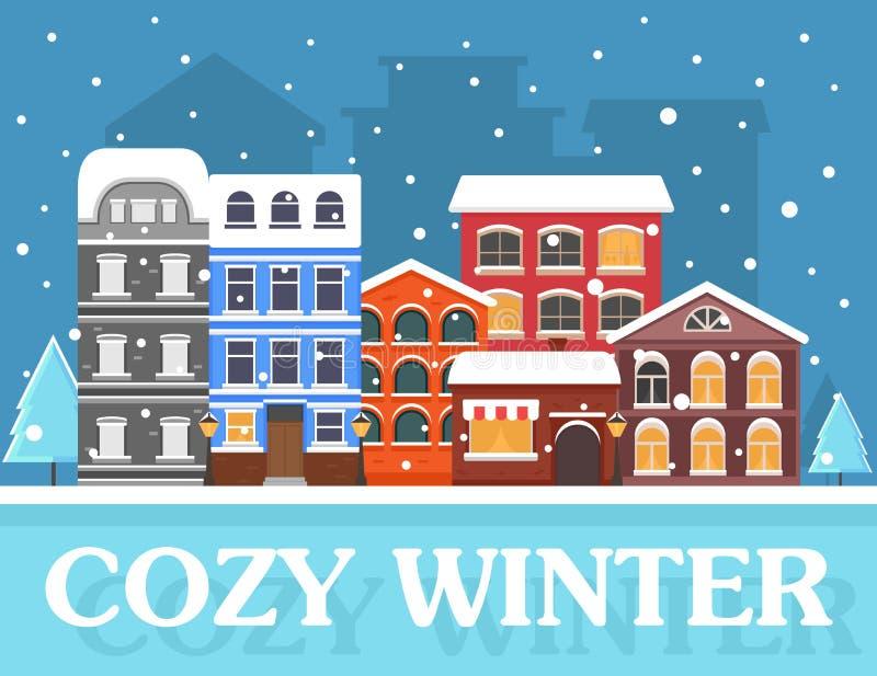 Gemütlicher Winter in der Stadt stock abbildung
