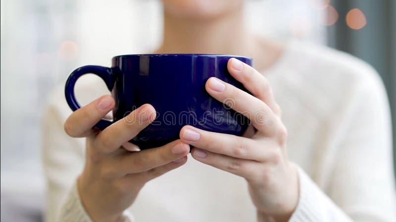 Gemütliches Atmosphärenmädchen mit großem Schalenkaffeekakaoschokoladenweihnachtszeitwinter Abschluss herauf die Hände der jungen stockbild