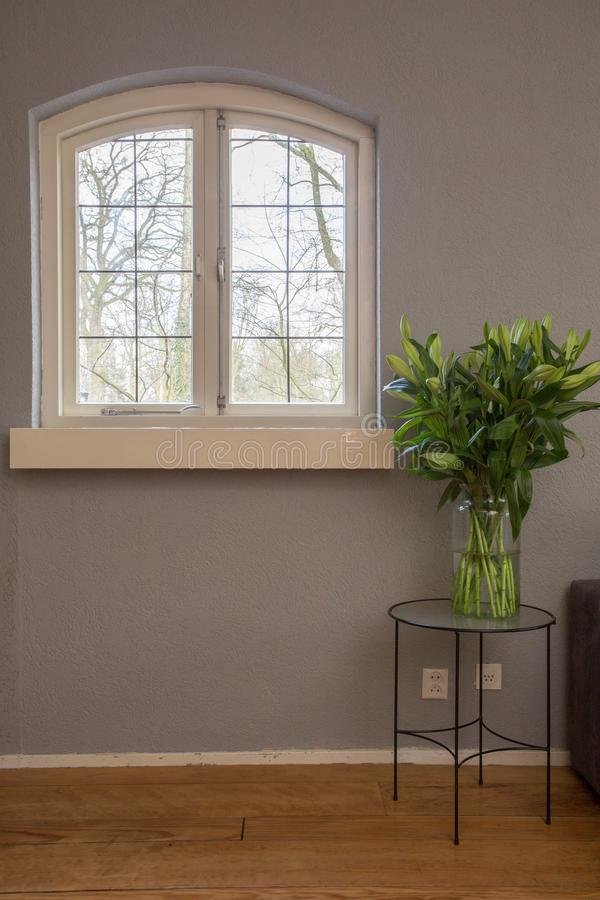Gemütliches kleines Weinlesefenster mit bunter Blume bepflanzen auf dem Tisch mit Büschen lizenzfreies stockbild