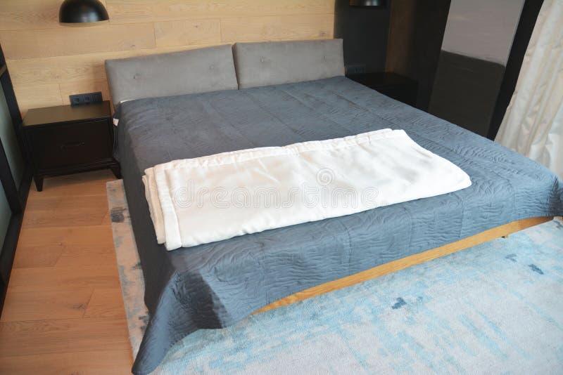 Gemütliches, modernes Zimmer-Interieur mit luxuriösem Bett lizenzfreie stockbilder