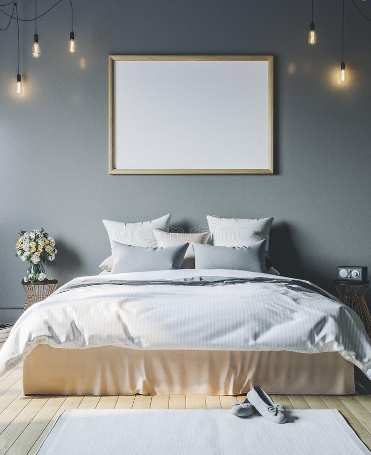 Gemütliches Schlafzimmer mit leerem Plakatrahmen Feldmodell im Innenraum stockfotografie