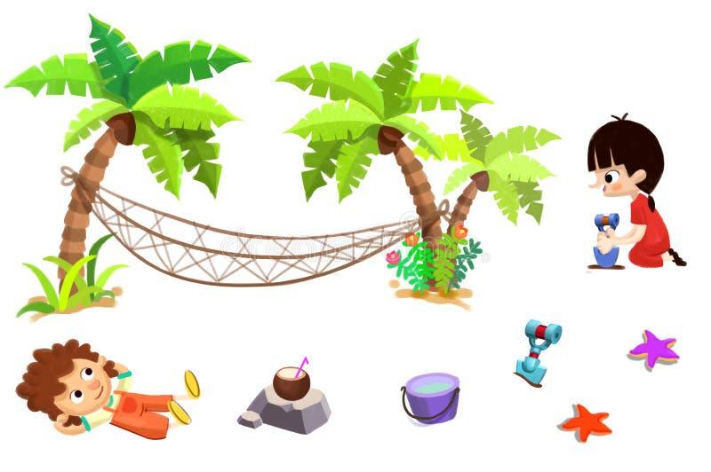 Gem Art Set: Sandstrandmaterial: Pojken flickan, palmträdet, hängmattan, sander, kokosnöt mjölkar, ösregnar, skyfflar etc. stock illustrationer