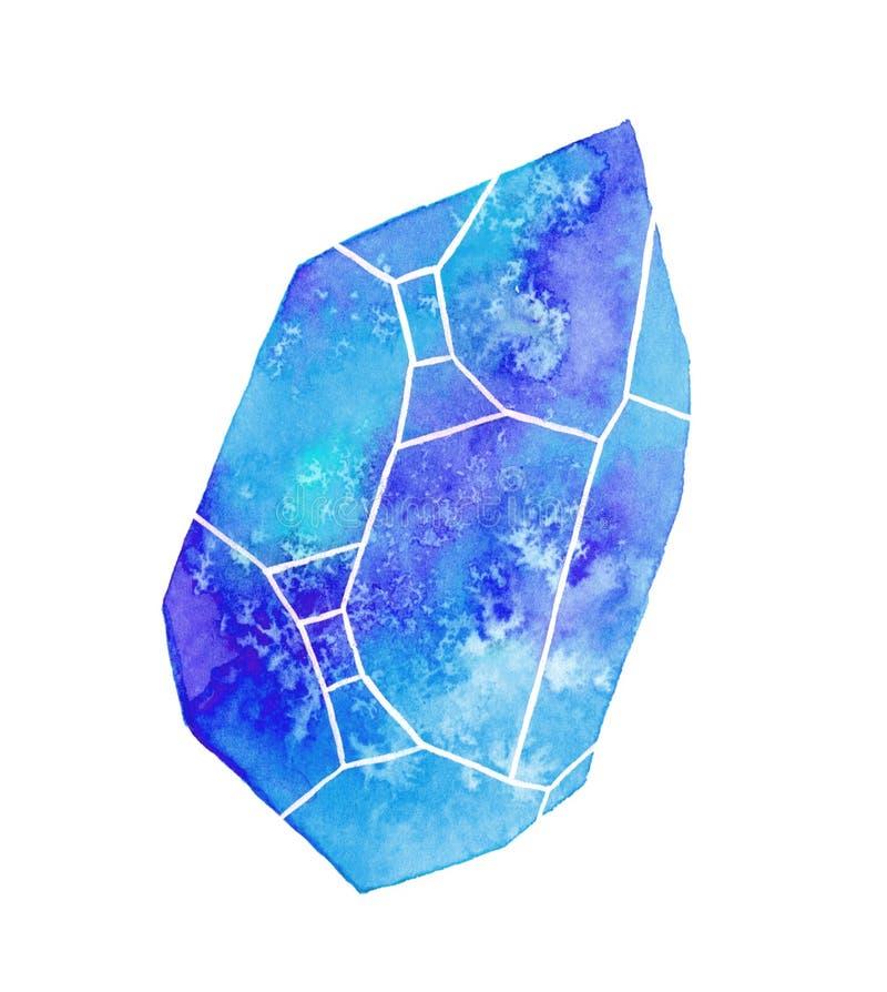 Gem or crystal watercolor illustration. Gem or crystal. Hand-drawn blue gemstone on the white background - saphire. Real watercolor illustration stock illustration