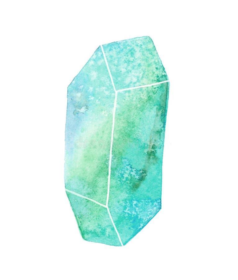 Gem or crystal watercolor illustration. Gem or crystal. Hand-drawn blue gemstone on the white background - saphire. Real watercolor illustration royalty free illustration