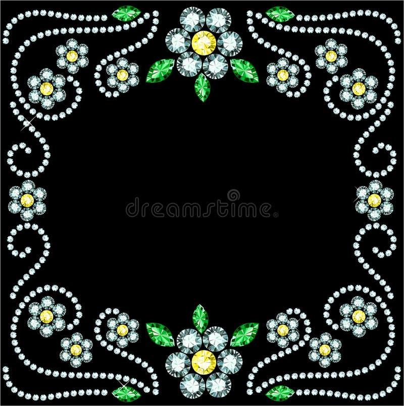 Gem Flowers Frame ilustração royalty free