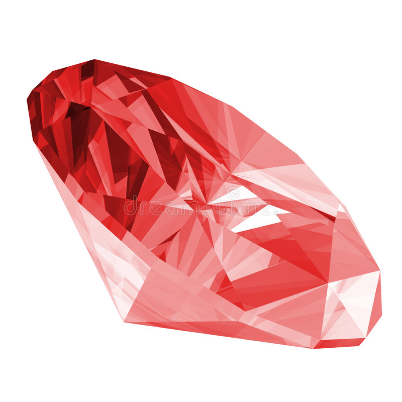 gem isolerad ruby 3d royaltyfri illustrationer