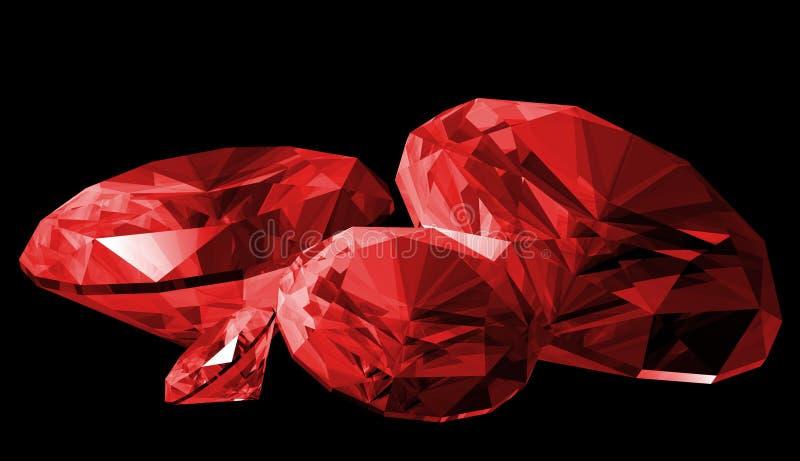 gem isolerad ruby 3d vektor illustrationer