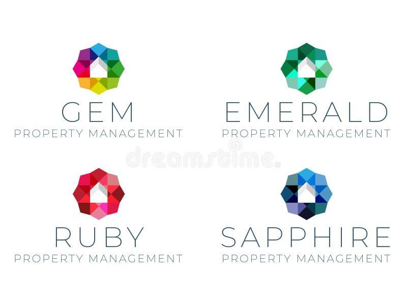 Gem Property Management Logo Template ilustração do vetor