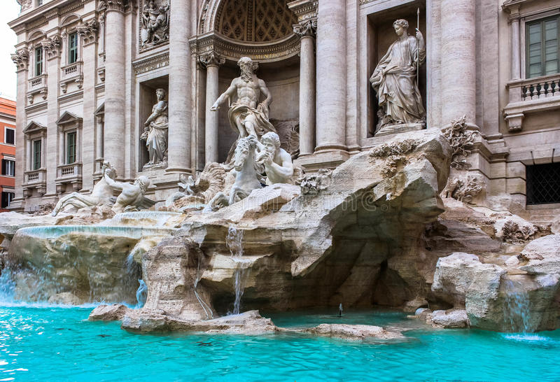 The Gem of Rome: Fontana di Trevi. A stunning, elaborate Baroque gem of a fountain in Rome. No trip to Rome is complete without a visit to the Fontana di Trevi stock photos