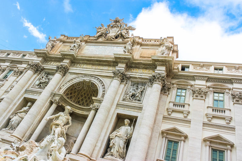 The Gem of Rome: Fontana di Trevi. A stunning, elaborate Baroque gem of a fountain in Rome. No trip to Rome is complete without a visit to the Fontana di Trevi royalty free stock photos