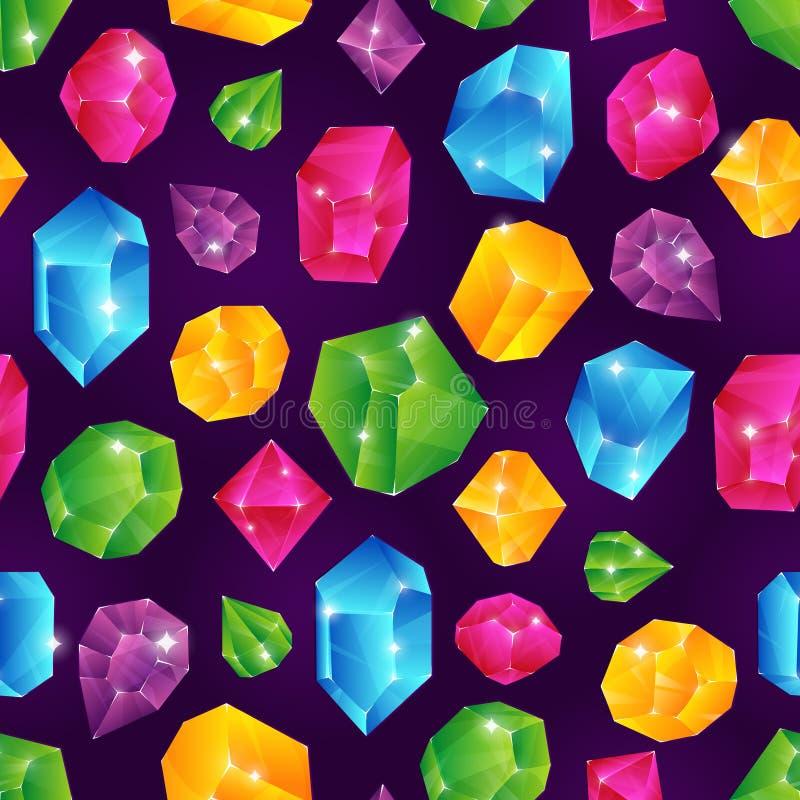 Gem Seamless Pattern Textura sin fin coloreada del diamante de las joyas de los diamantes de la piedra del vector brillante de ru ilustración del vector