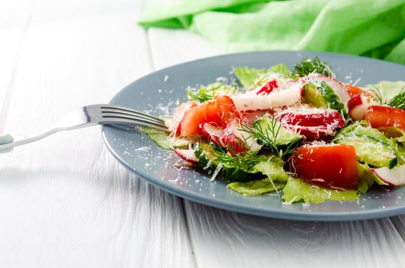 Gem?sesalat des neuen Fr?hlinges mit Rettich und Parmesank?se Platte mit Salat auf einem wei?en Holztisch lizenzfreie stockbilder