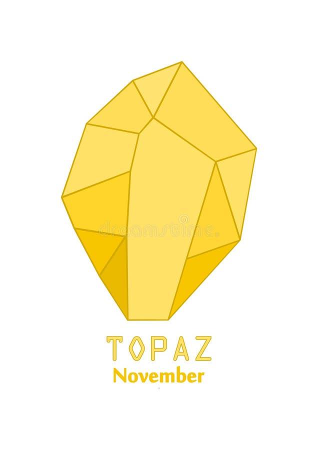 Gema amarela do topázio, pedra do ouro, cristal amarelo, gemas e cristal mineral, pedra preciosa do birthstone de novembro ilustração do vetor