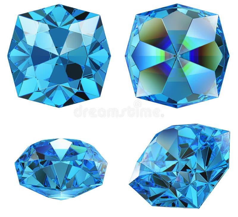 A gema azul da safira isolou-se ilustração do vetor
